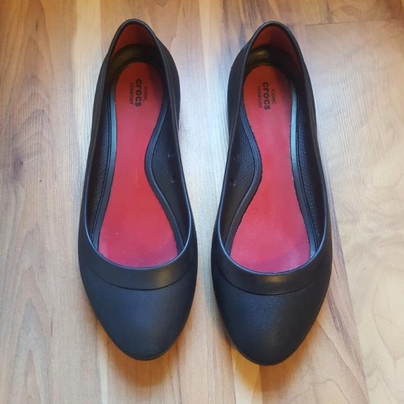 f0960bcf34bbc9 CROCS Shoes - Black Croc Ballet Lina Flat